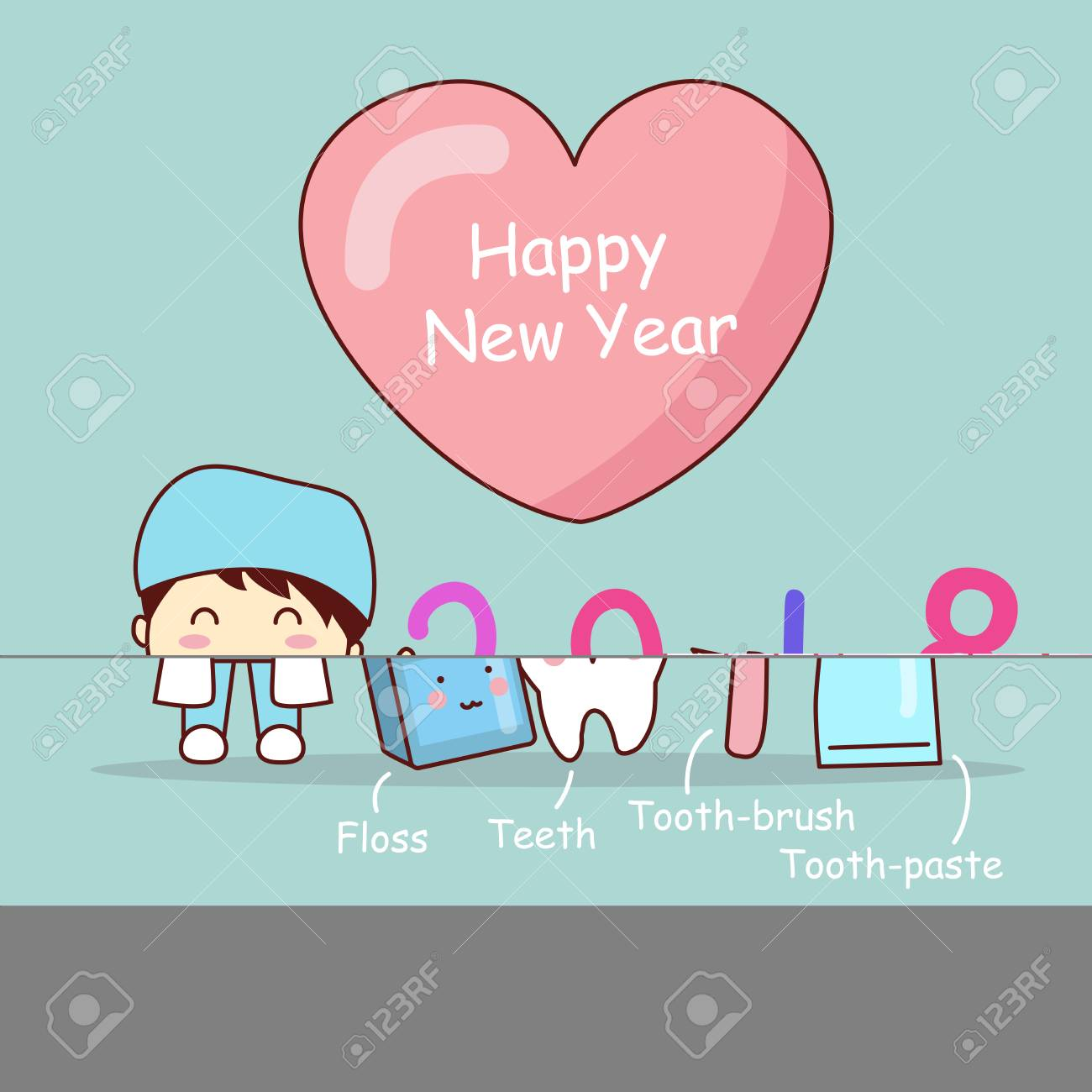happy new year and cute cartoon dentist with tooth brush and clean stock vector 88539586