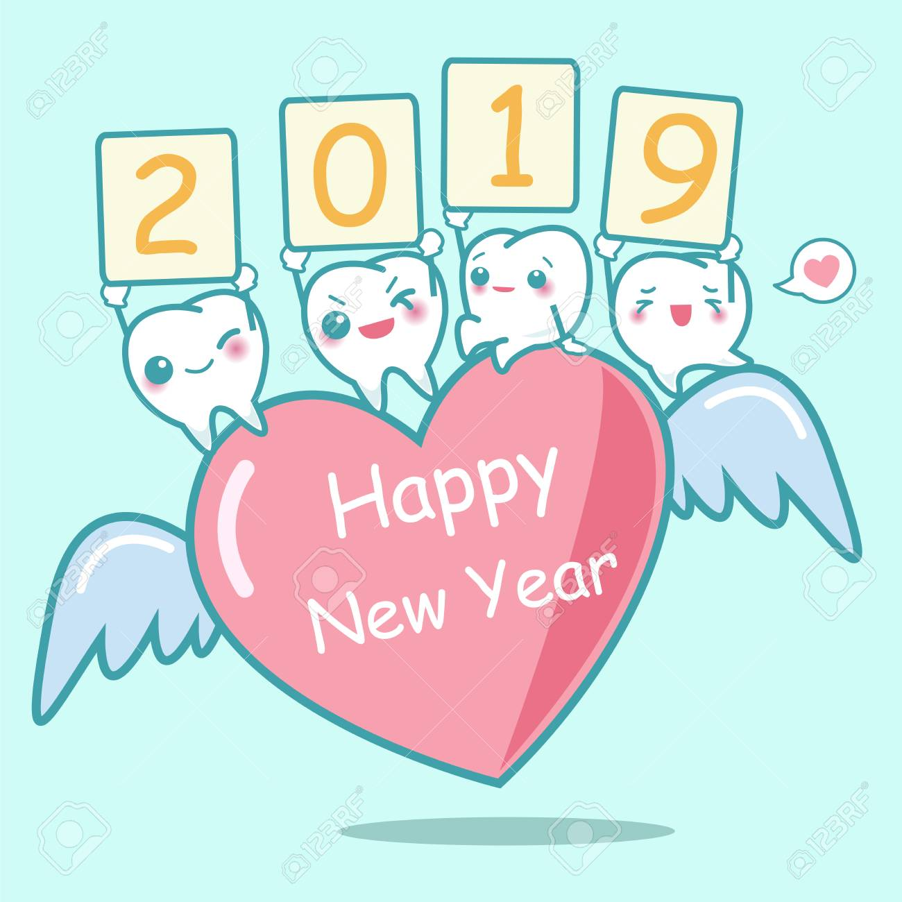 happy new year with cute cartoon white tooth stock vector 110801384