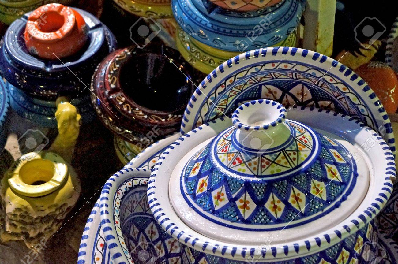 Stock Photo - Tunisian ceramic objects decorated with traditional colour in a marketplace & Tunisian Ceramic Objects Decorated With Traditional Colour In ...