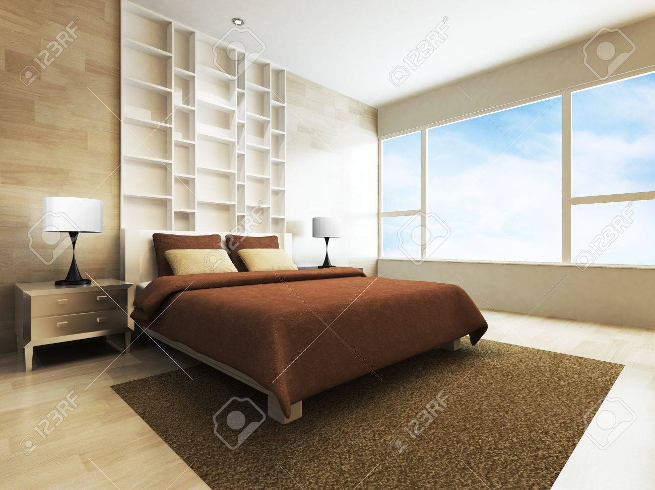 Modern bedroom in minimalist style Stock Photo - 15750626