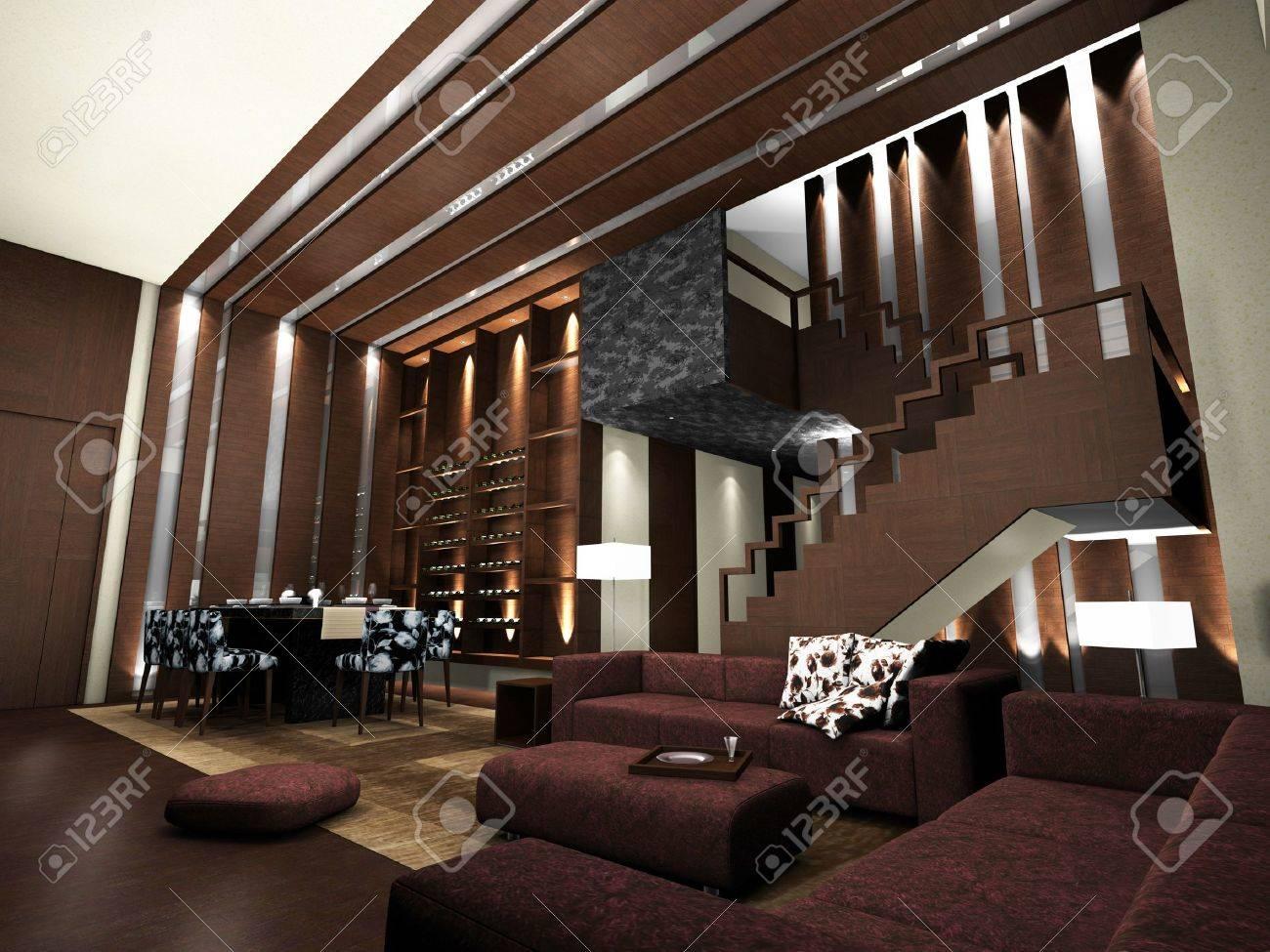 Modernt Vardagsrum Design Med Bord Och Soffor 3D-rendering Royalty ...