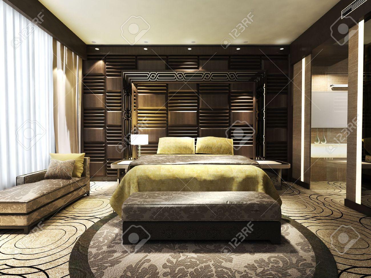 Chambre à coucher moderne des résidences ou hôtels de style minimaliste