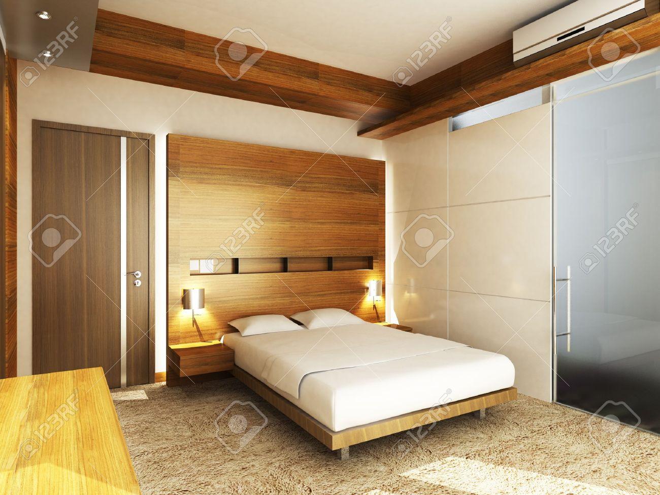 Chambre à Coucher Moderne Dans Un Style Minimaliste Banque D ...