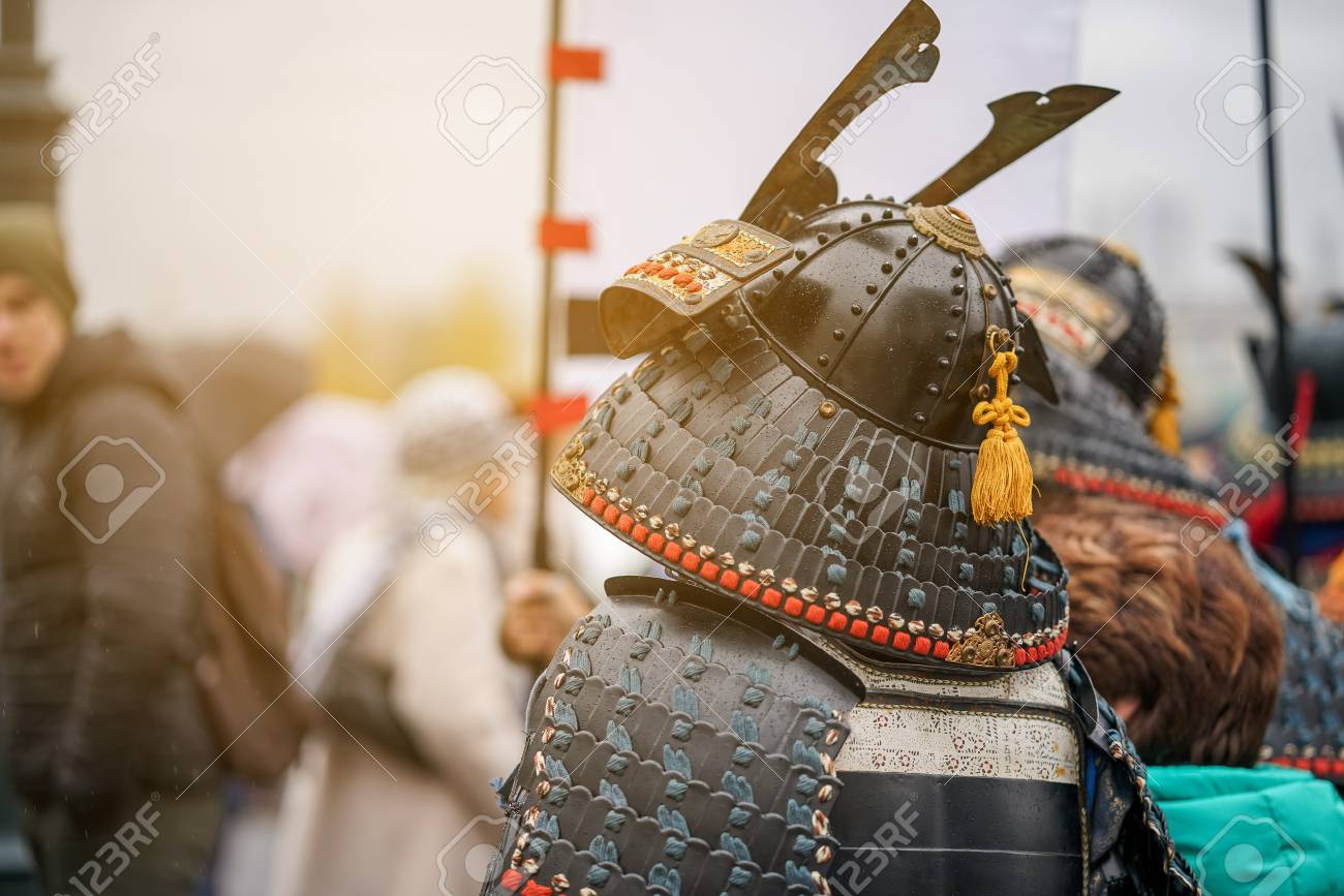 Samurai armour and helmet. Carnival costumes. Soldiers on outside Stock Photo - 88195398 & Samurai Armour And Helmet. Carnival Costumes. Soldiers On Outside ...