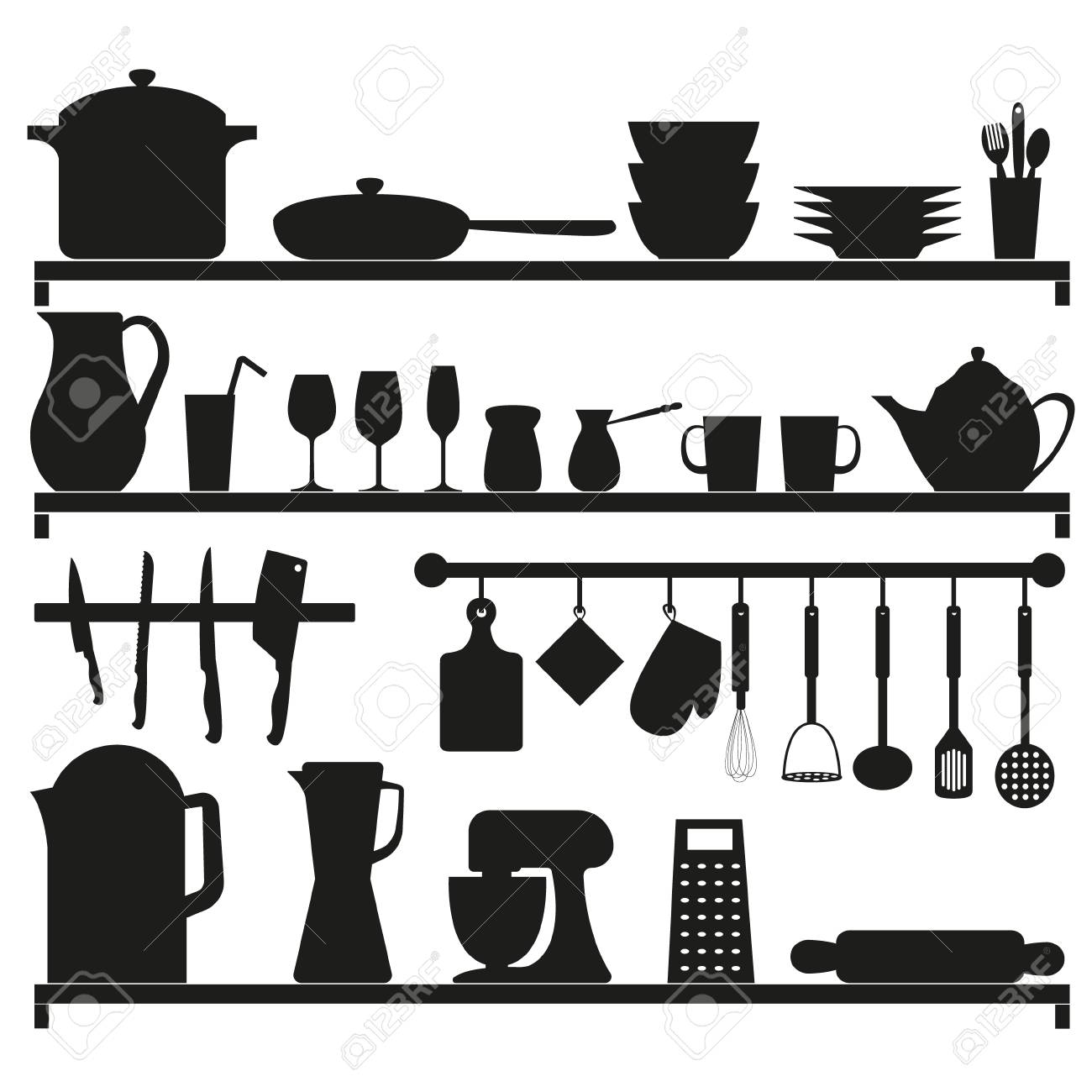 Set Of Vector Black Kitchen Equipments Vector Black Kitchen Royalty Free Cliparts Vectors And Stock Illustration Image 108323558