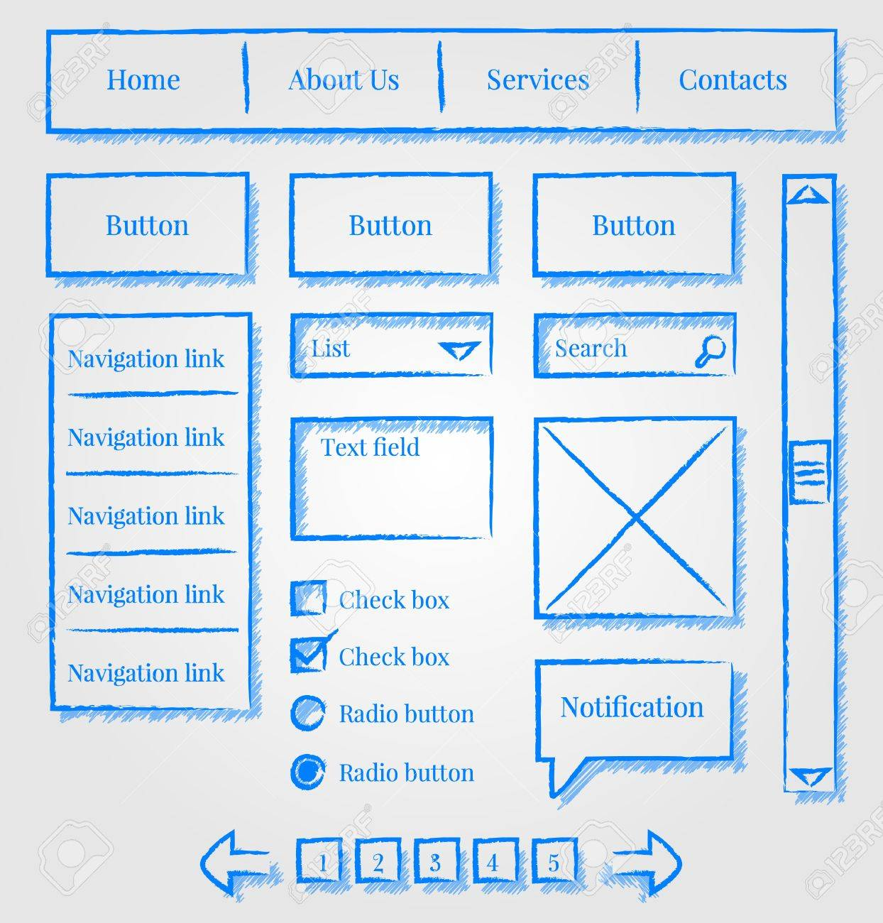 Website Design Sketch Style Kit Royalty Free Cliparts, Vectors ...