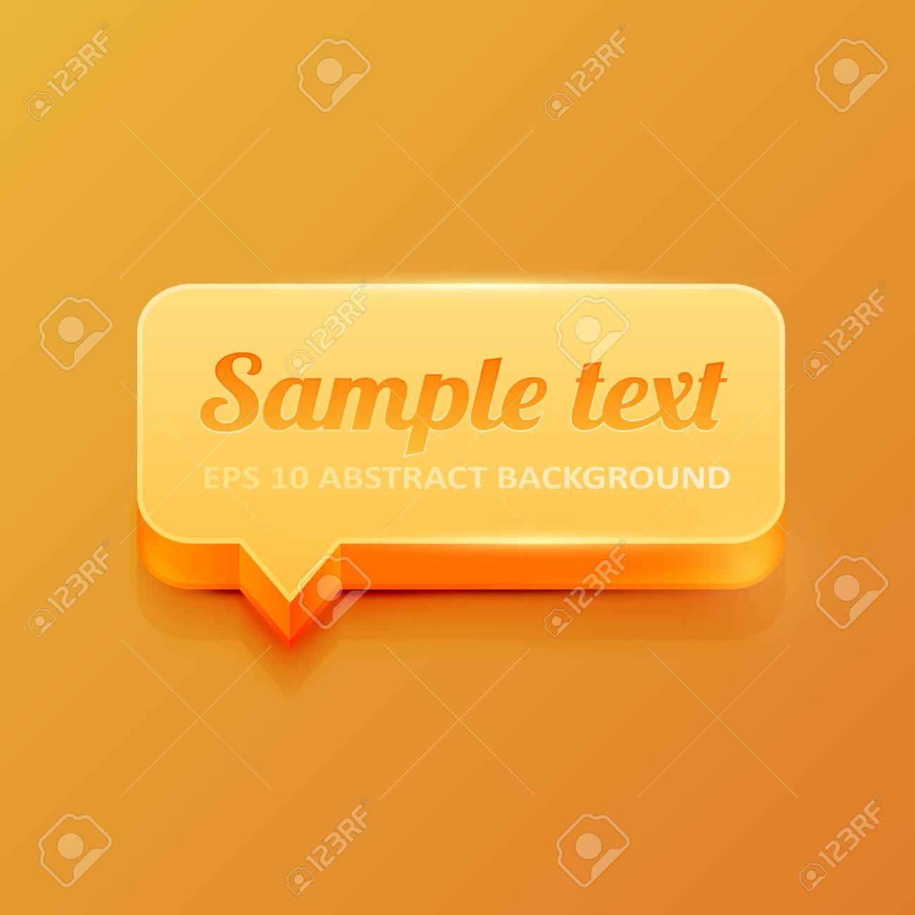 Orange 3d speech bubble Stock Vector - 16535877