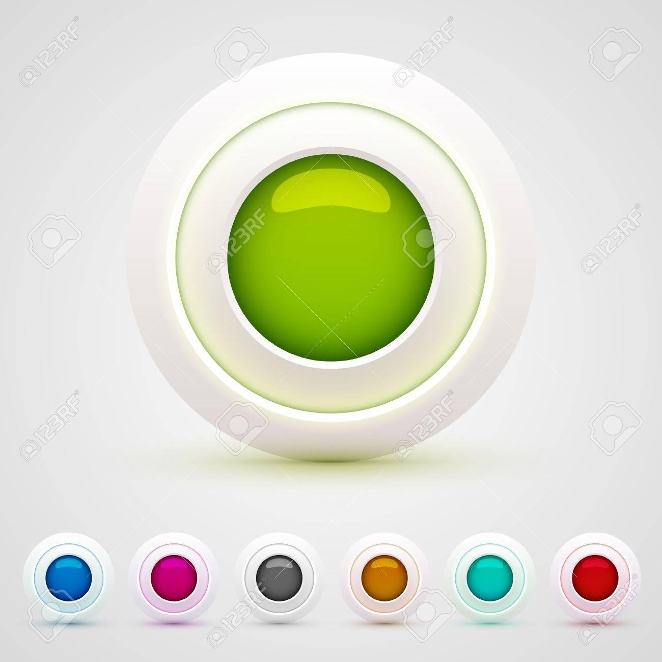 3d web buttons set Stock Vector - 16535878