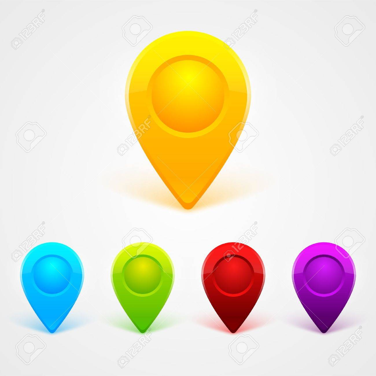 GPS Color Map Icons Stock Vector - 17499994