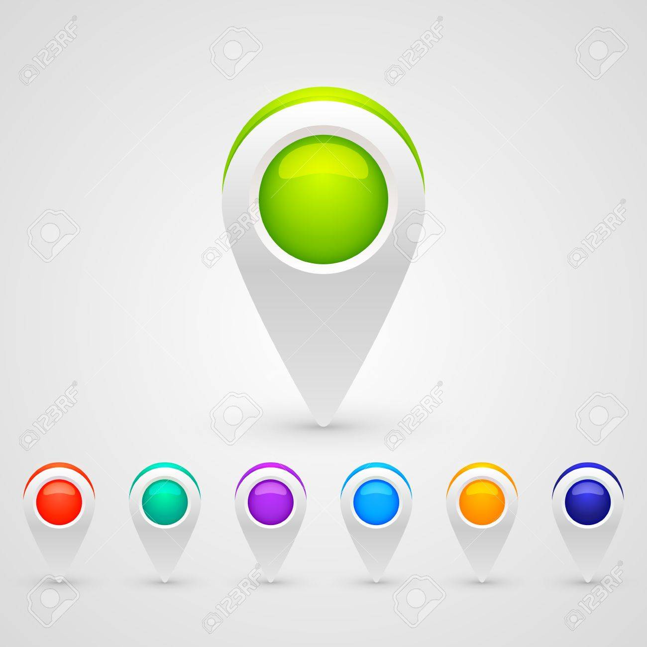 color GPS pin icons for infographic Stock Vector - 17499997