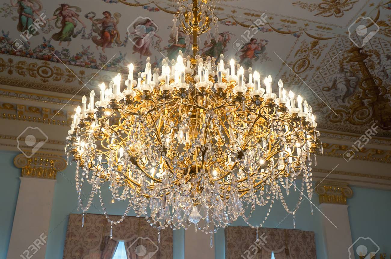 Beautiful old crystal chandelier in historical palace stock photo beautiful old crystal chandelier in historical palace stock photo 72253792 aloadofball Images
