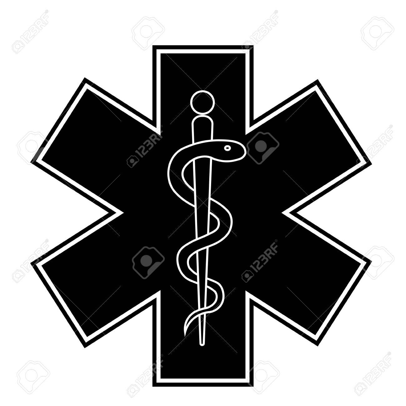 Medical sign star of life icon. Hospital ambulance star glyph style pictogram. Medicine logo - 154032461