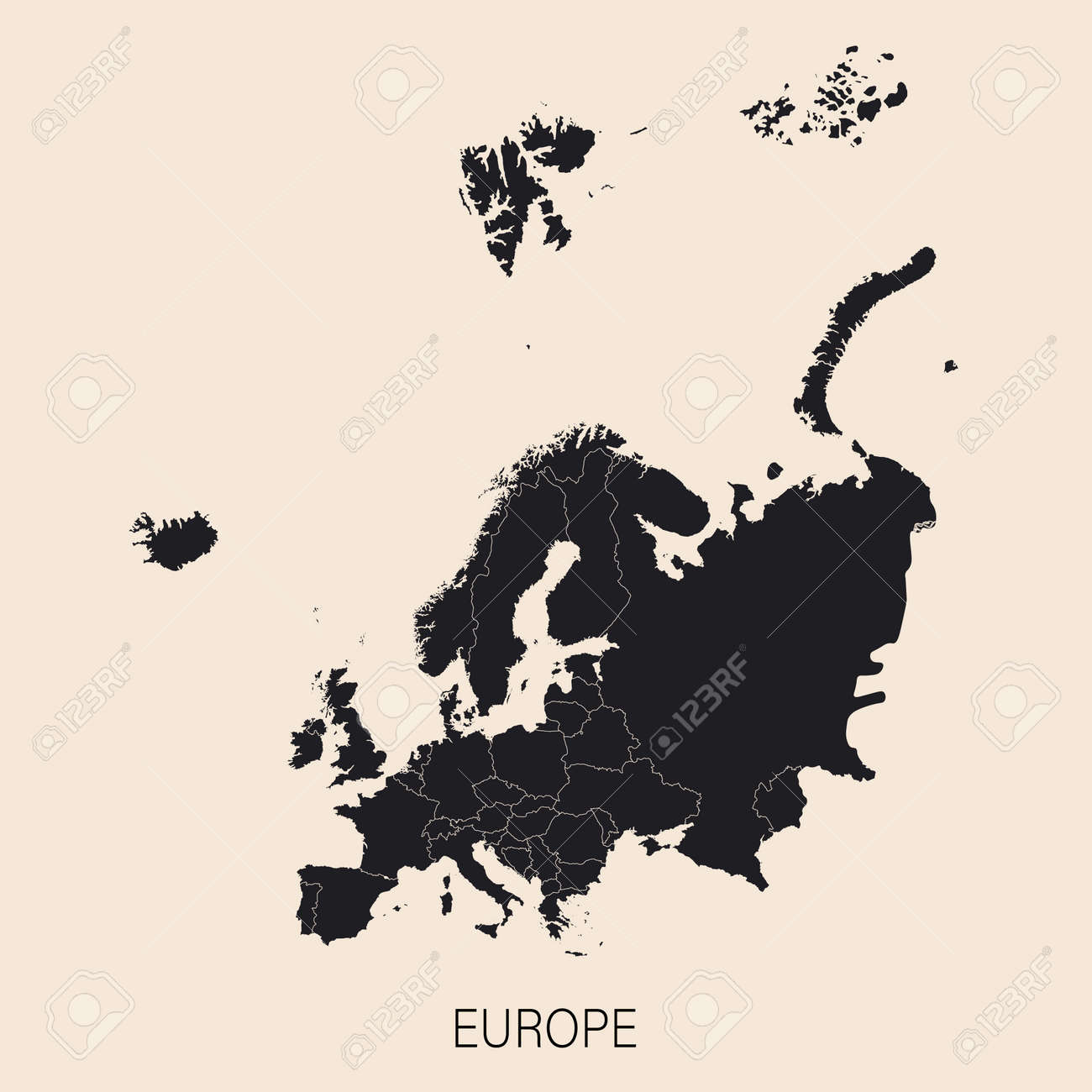 The political detailed map of the continent of Europe with Russia with borders of countries. Highly detailed political map of the world - 169261823