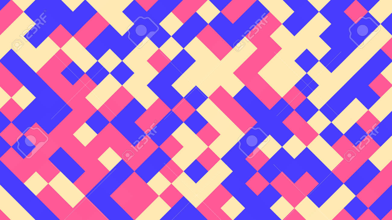 Abstract geometric background with pink, blue, yellow and red polygons. - 147206861