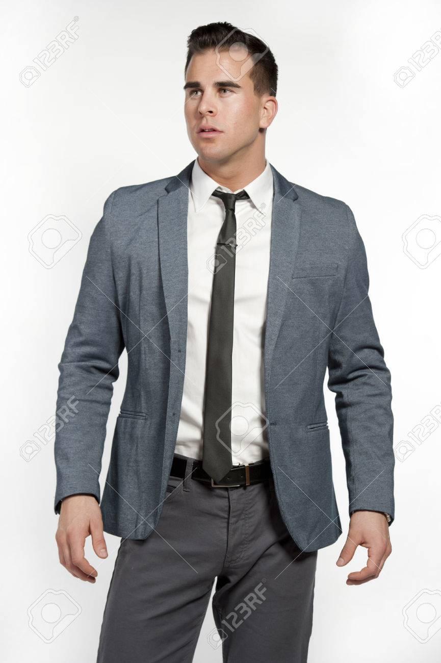 Ein Attraktives Weißer Mann Eine Einbau Grauen Anzug Mit Einem