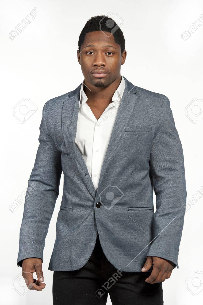 Overhemd Voor Onder Pak.Aantrekkelijk African American Mannelijk Model Draagt Een Grijs