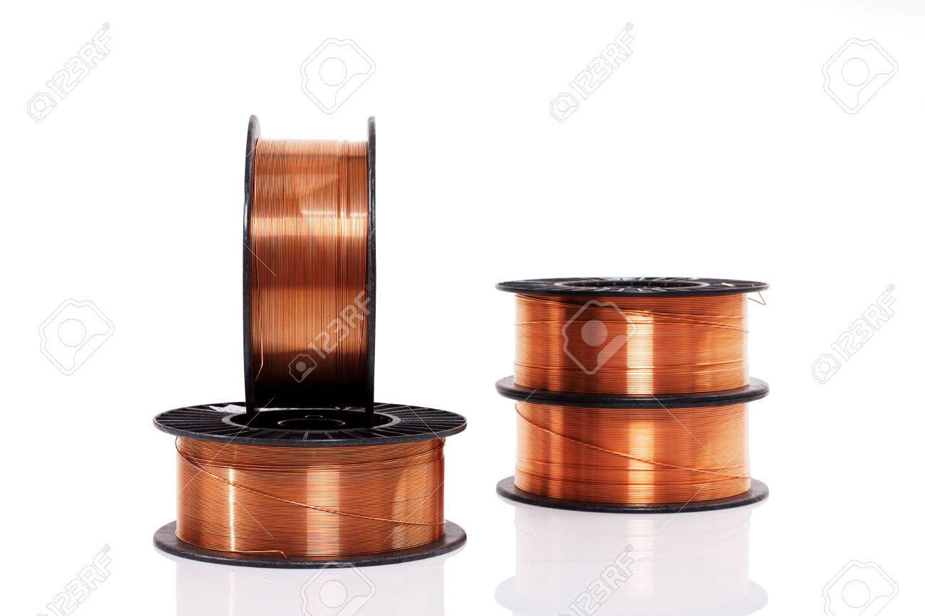 Copper Welding Wire Wounded On The Spools Isolated On White... Stock ...