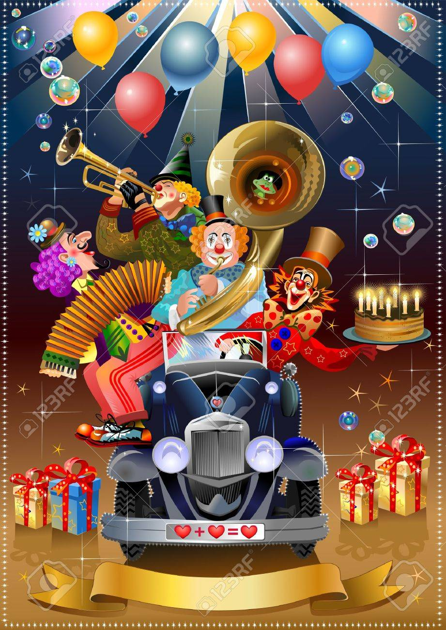festive clowns in the car of love playing trumpet and harmonica Stock Vector - 9783278