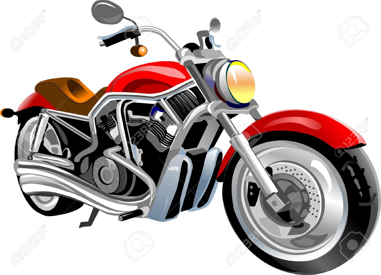 big red motorcycle is on the white road. Stock Vector - 9885002