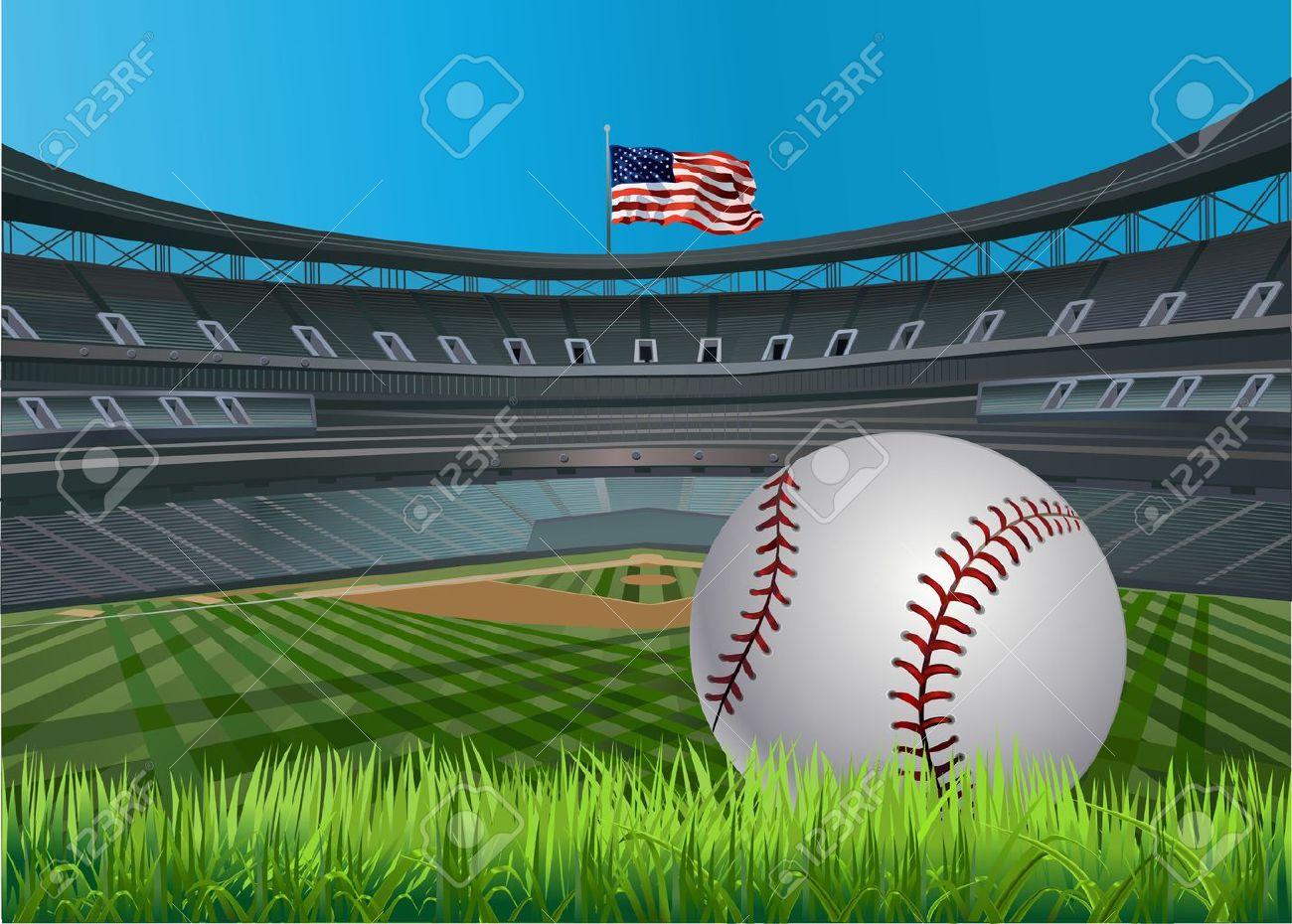 Baseball ball and Baseball stadium and a baseball diamond with green grass - 10105882