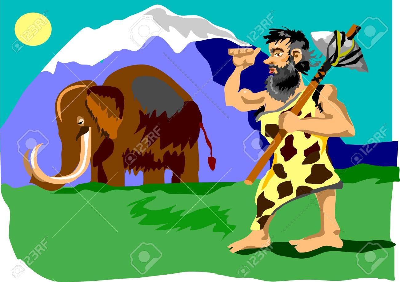 caveman preparing to attack the mammoth Stock Vector - 10105888