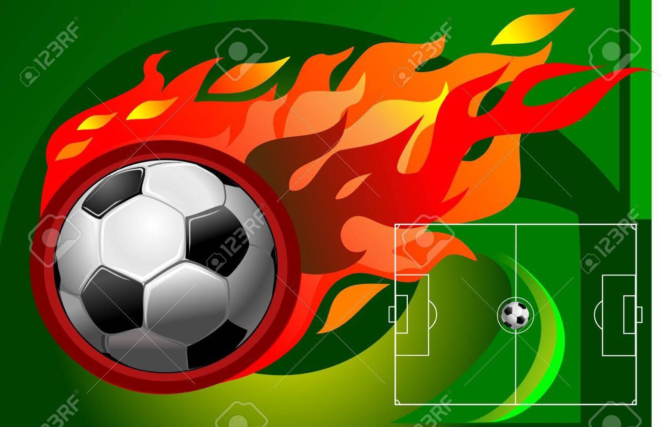 Soccer fireball and the soccer field. Stock Vector - 11826672