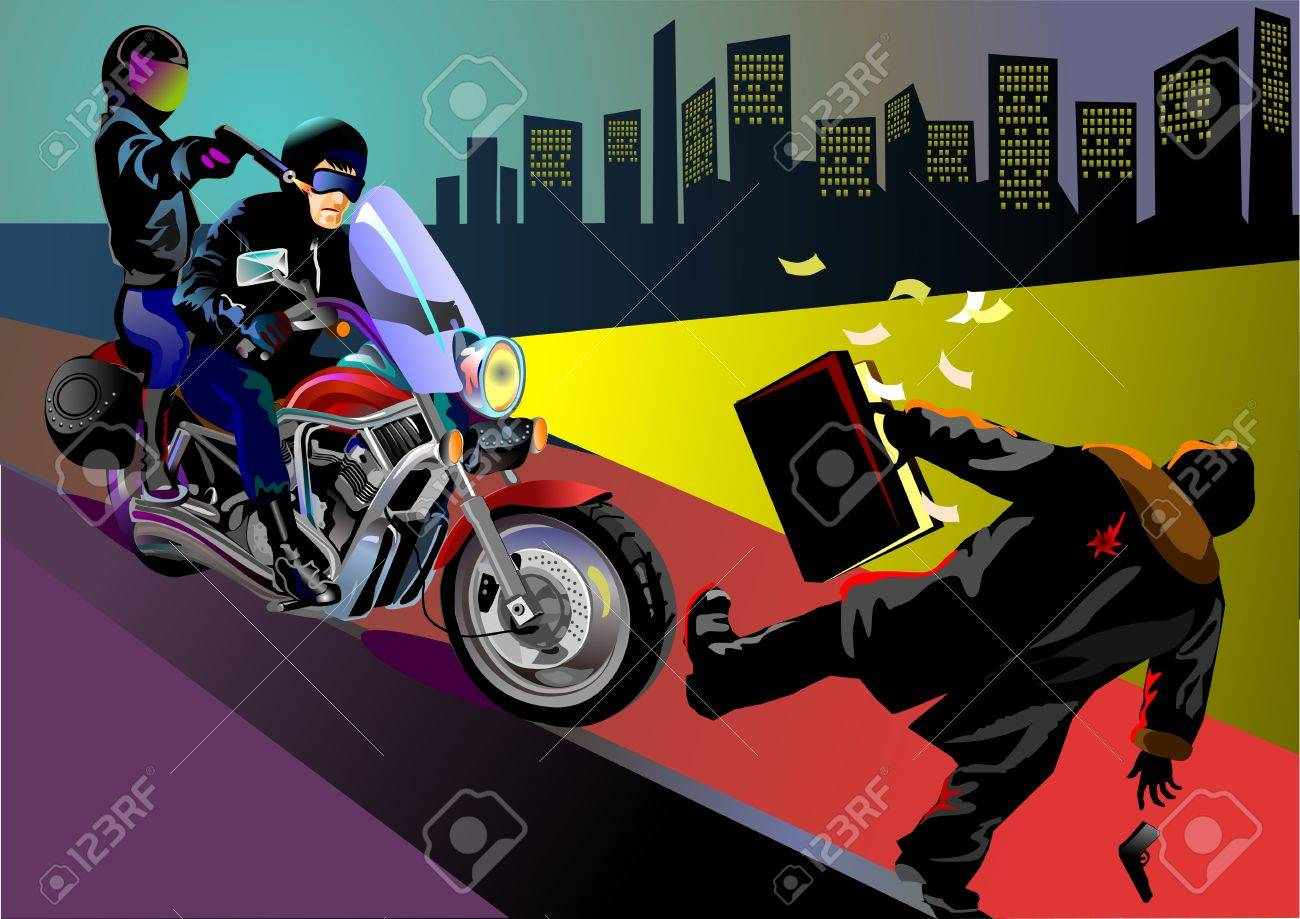 Nighttime robbery: Motorbike gang strike in central town Stock Vector - 12422301
