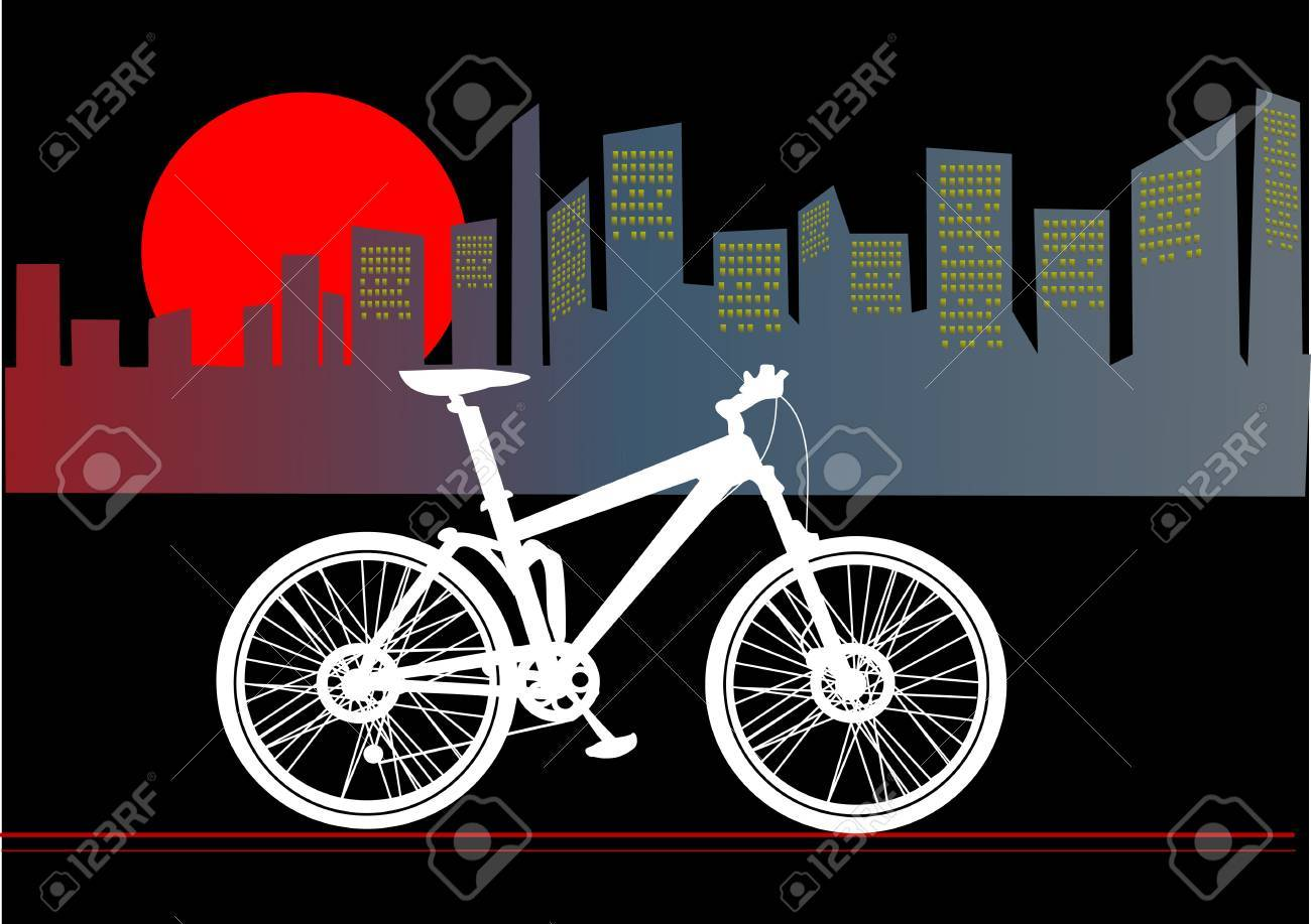 mountain bike in the downtown Stock Vector - 12497051