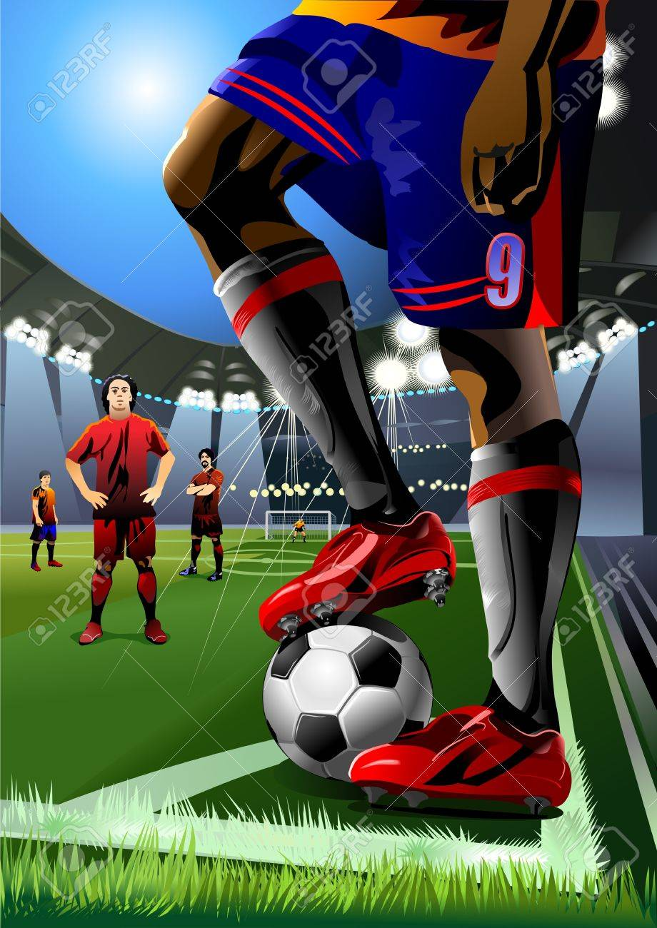 soccer player preparing for kick the ball  corner kick Stock Vector - 13920089