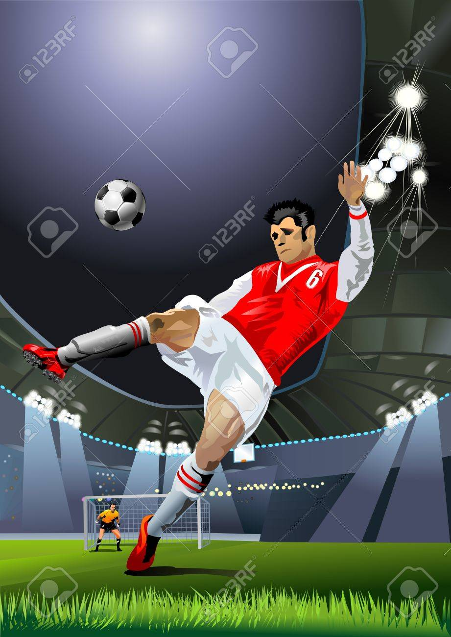 a soccer player hits the soccer ball on the soccer field Stock Vector - 13959720