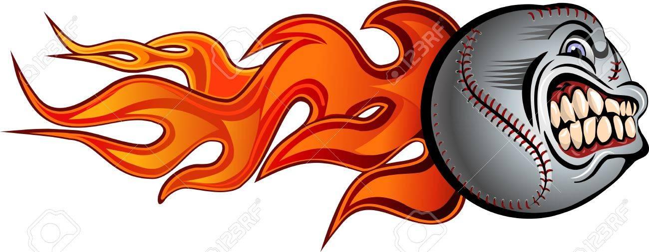 flaming angry baseball royalty free cliparts vectors and stock rh 123rf com Happy Birthday Cake Clip Art Birthday Banner Clip Art