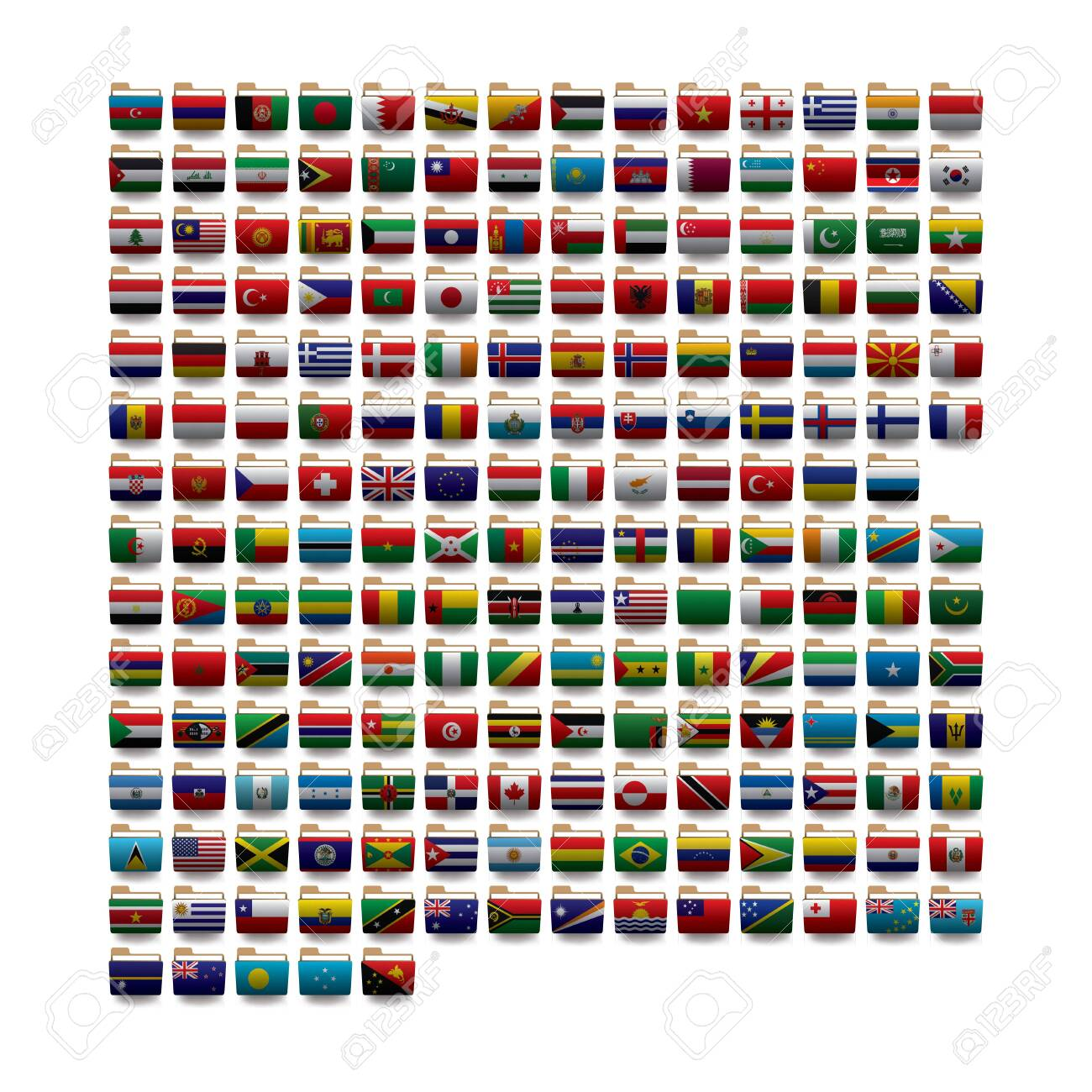 Set of vector folders icons with world flags. 10 eps - 124310623