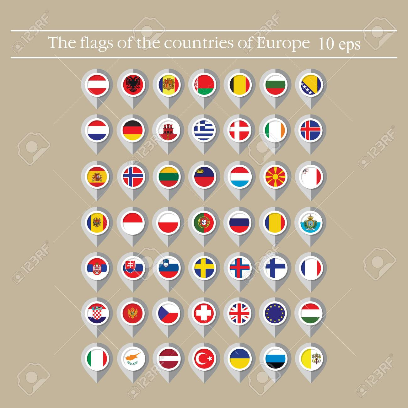 Map marker flags vector of the countries in flat style. - 124252818