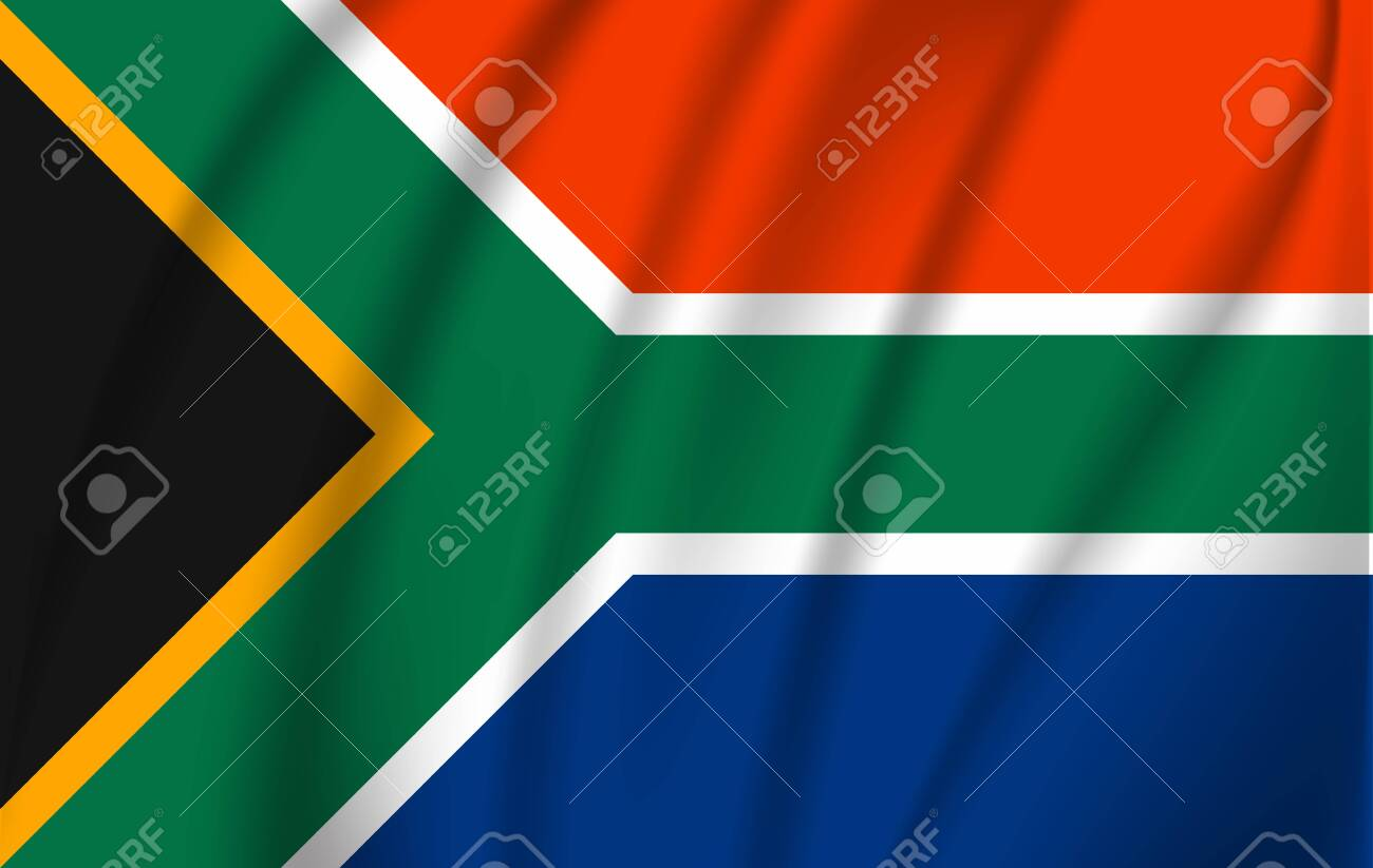 Realistic waving flag of Republic of South Africa. Fabric textured flowing flag of South Africa. - 137751900