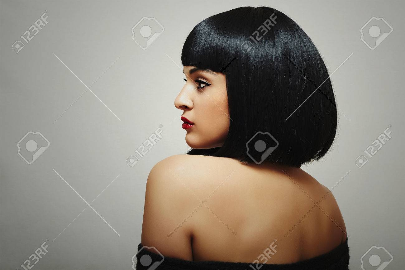 Sexy Back Of Beautiful Brunette Woman With Bob Haircut Red Lips