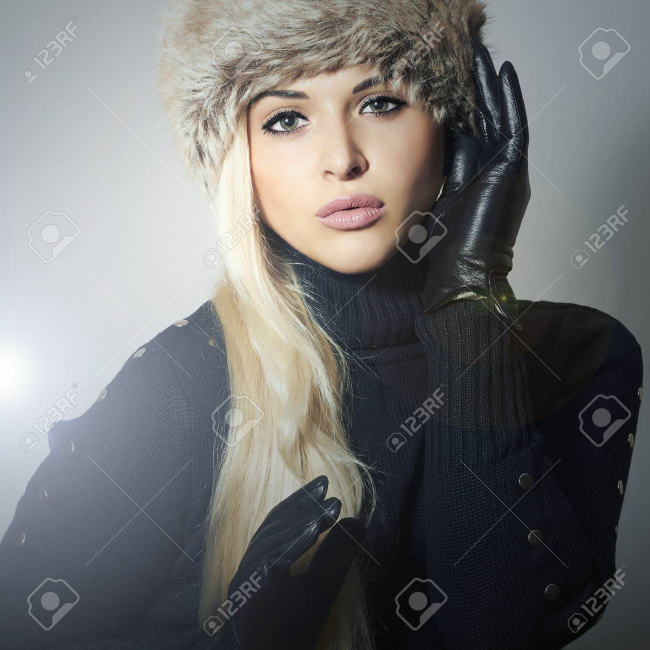 new concept official official shop Beautiful Fashion Girl in Fur Hat. Beauty Blond Woman in Leather..