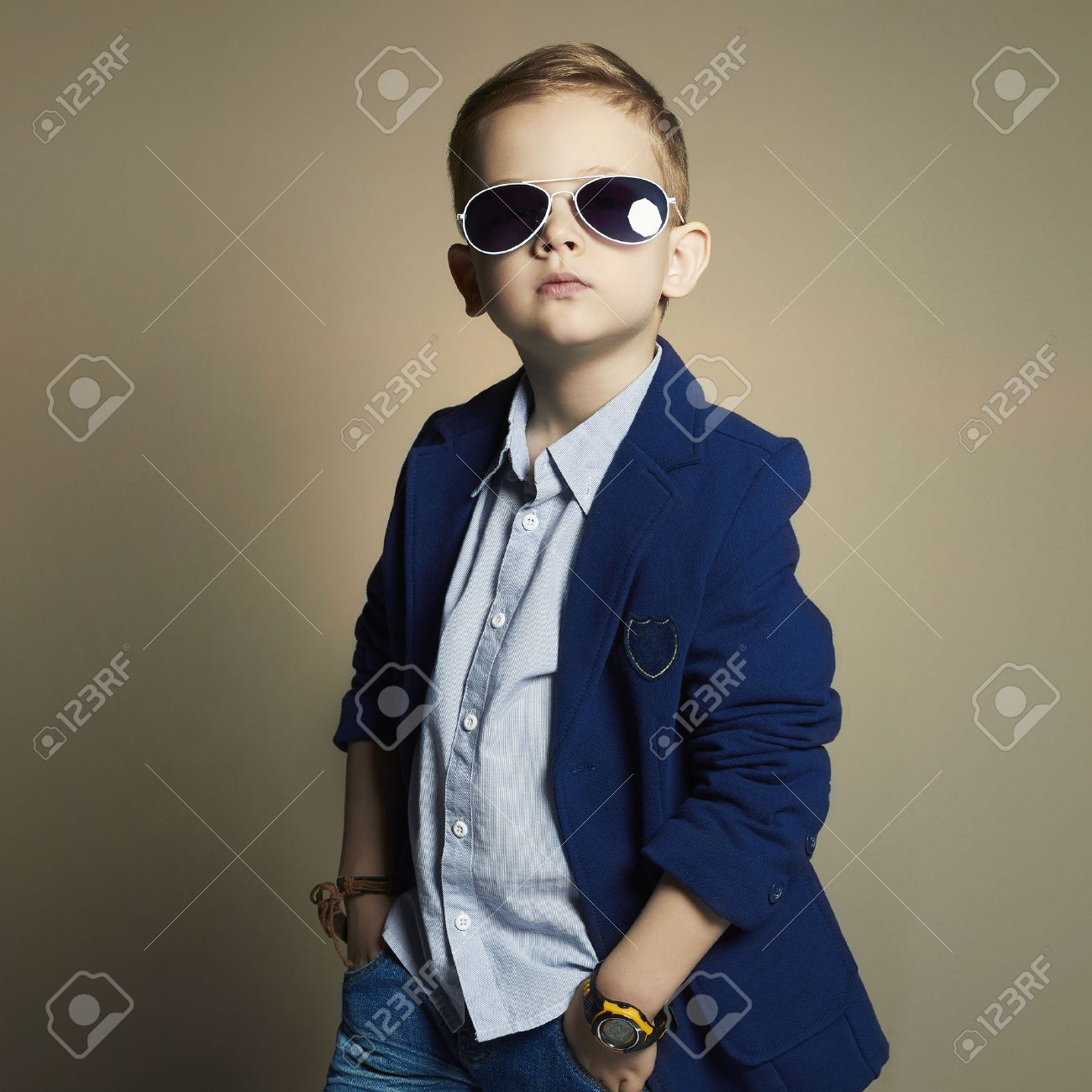fashionable little boy in sunglasses stylish kid in suit fashion