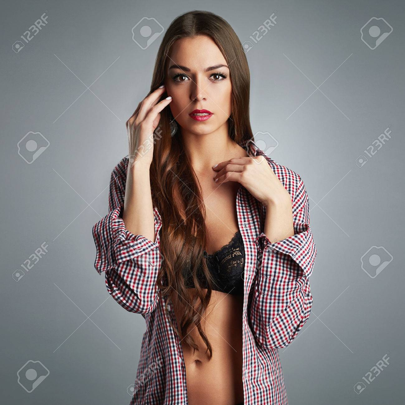 beautiful sexy young woman portrait.passion beauty girl with.. stock