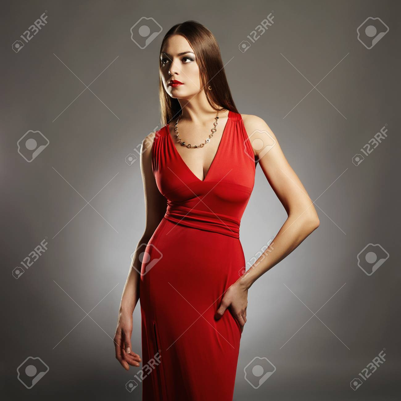 Stock Photo Young Beautiful Sexy Woman Beauty Brunette Girl With Perfect Body Elegant Lady In Red Dress