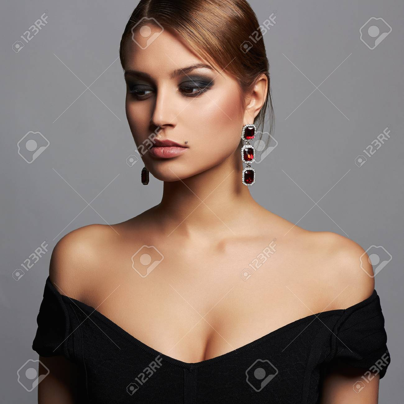 Young Beautiful Sexy Woman Beauty Girl With Short Hair And Make Up