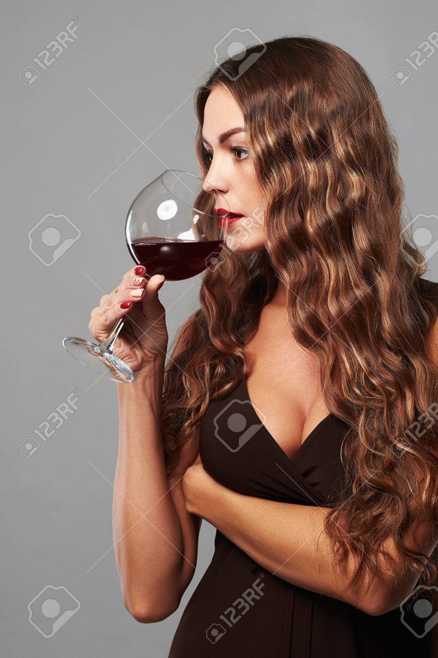 Sexy girl with glass