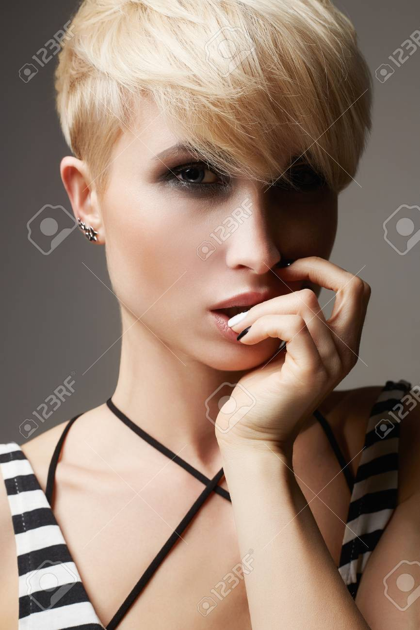 Beautiful Young Woman With Fashion Short Haircutblonde Hair Stock