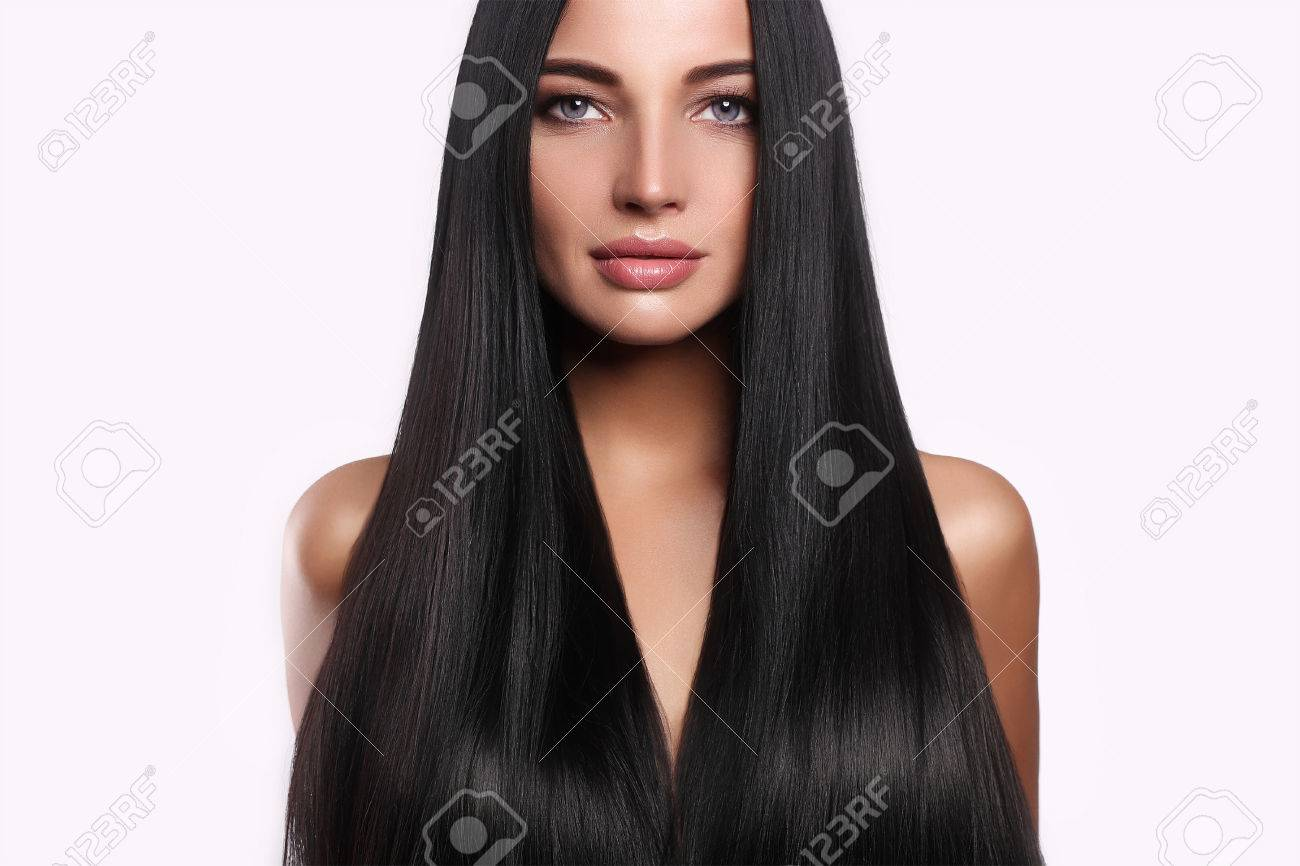beautiful woman with long hair and make-up.beauty model girl with shining hair - 81648367