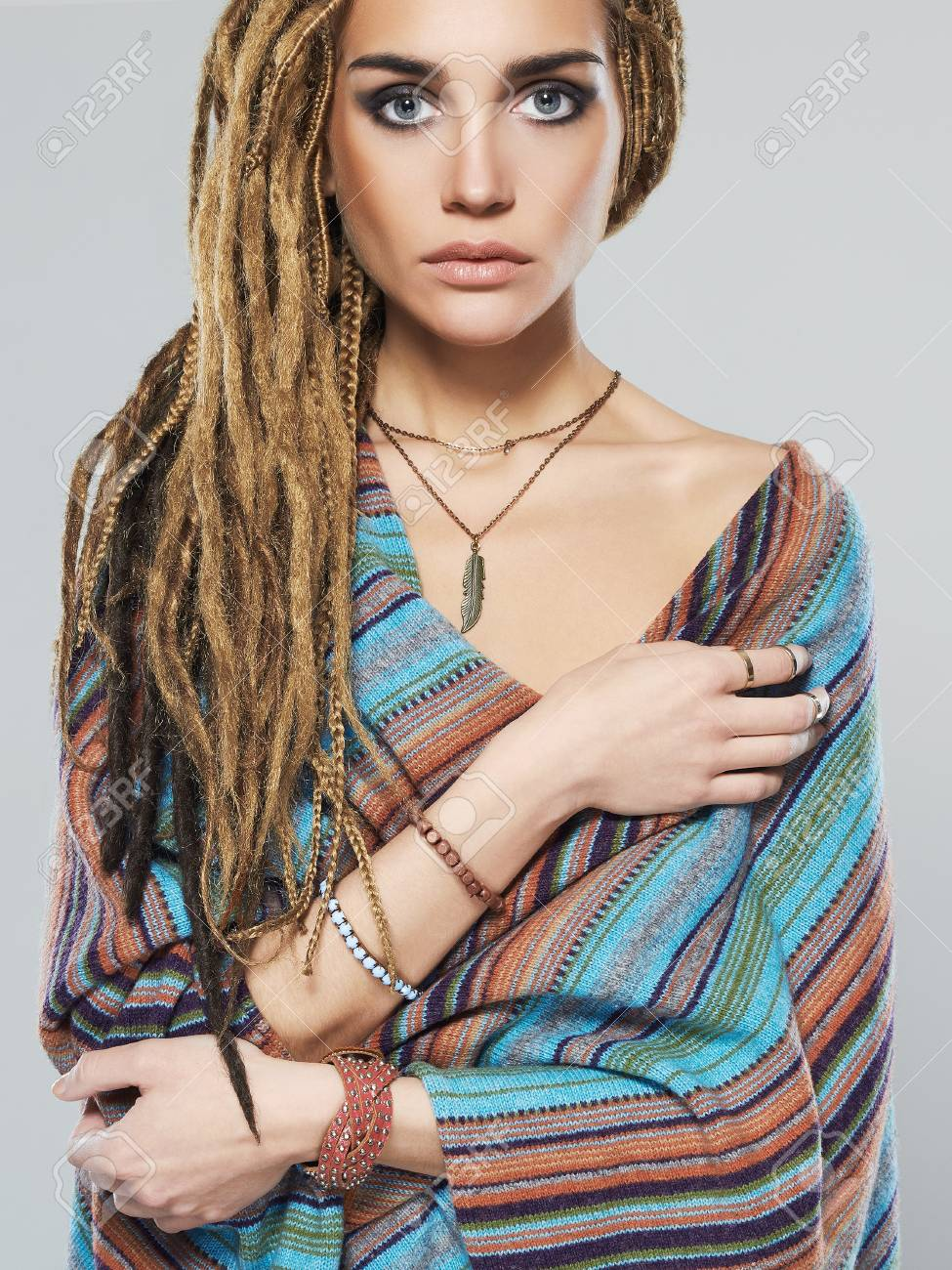 Beautiful Girl With Dreadlocks Hairstyleyoung Woman With Braids