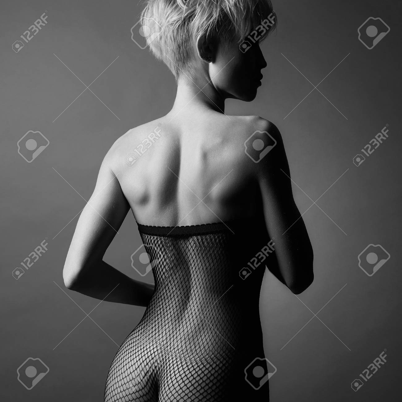 sexy back.beautiful body nude woman in Stockings.black and white photography  of naked