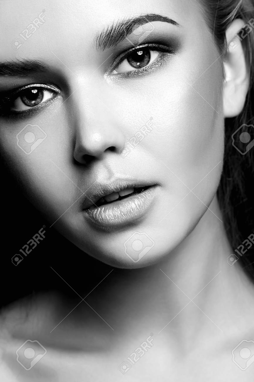 Beauty black and white portrait of young woman beautiful girl face stock photo 90214726