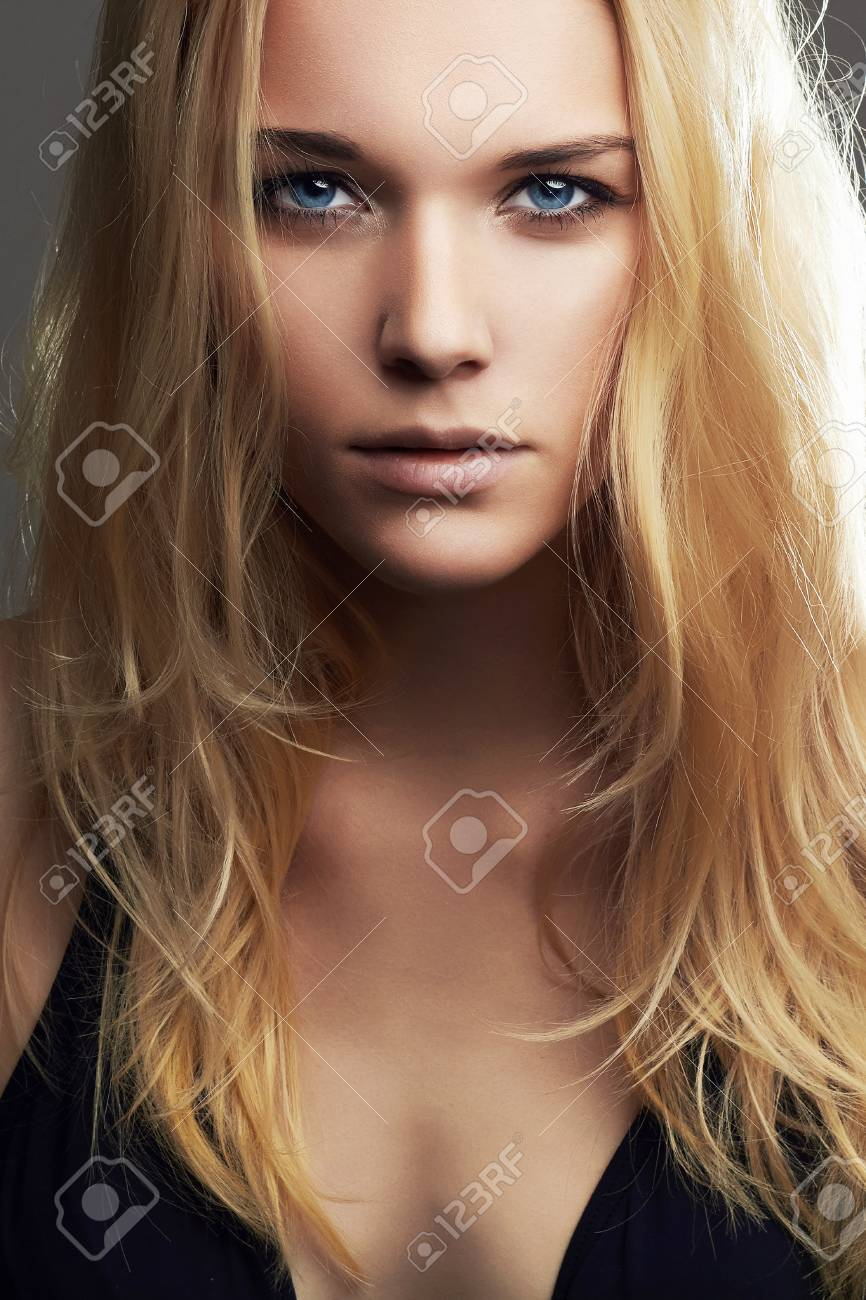 Beautiful blonde girl faces