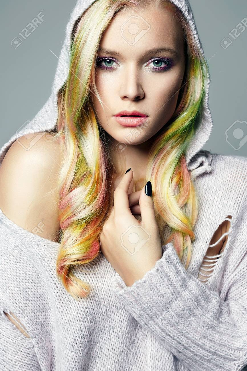 Colorful Hair Beautiful Girl In Hood Beauty Fashion Model With