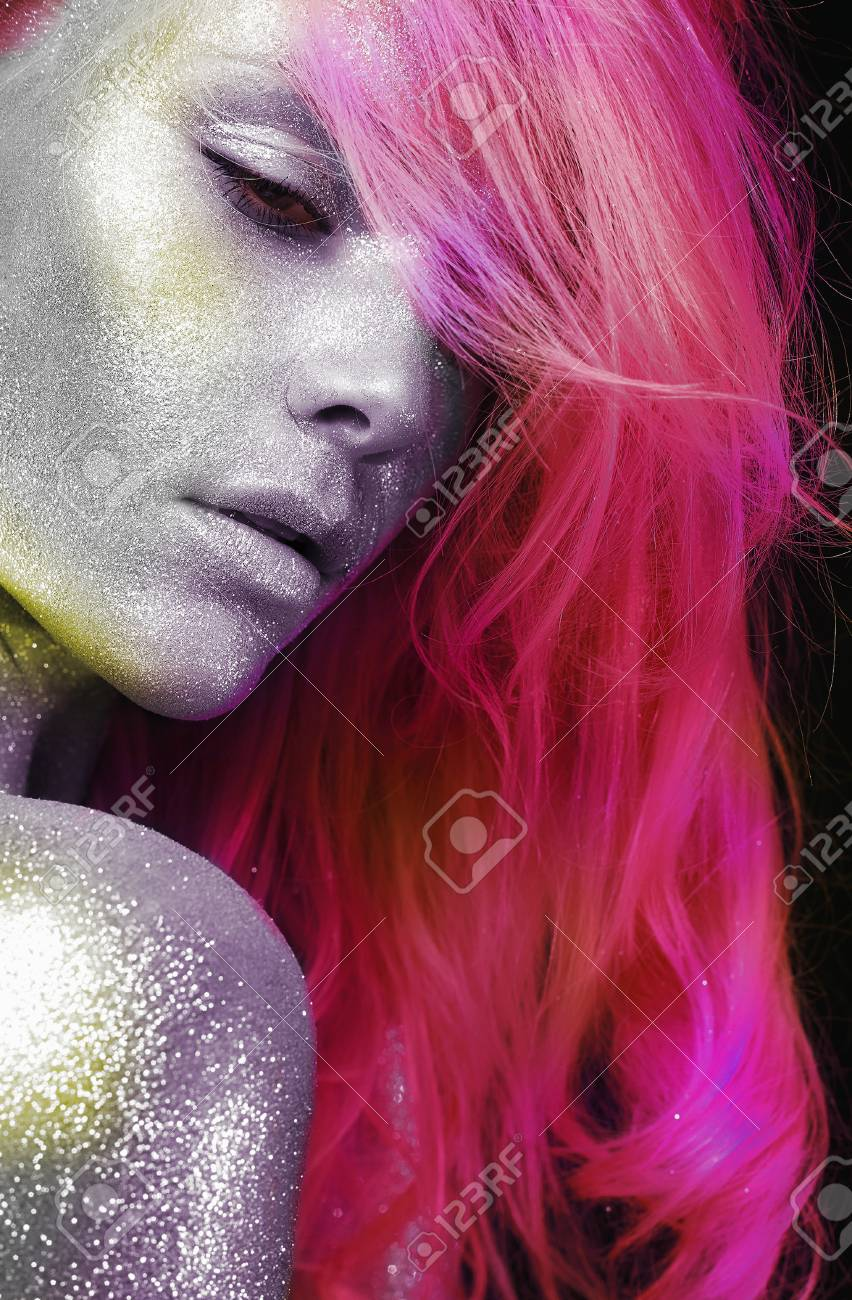 Beautiful Woman With Colorful Hair And Silver Sparkle Skin Beauty