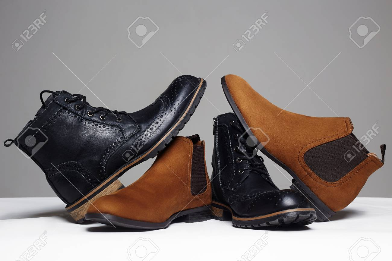 stylish men's shoes. men fashion still life. different boots